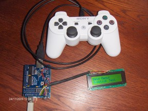PS3 controller connected to Arduino USB Host Shield
